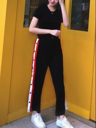 Button Down Slit Stripe Wide Leg Long Pants