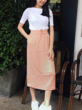AUTHENTIC MONKI Straight Cut Metallic Silk Skirt