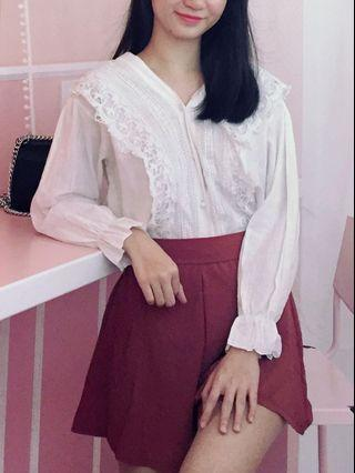 Victorian Style Embroidery Long Trumpet Sleeve Button Down Top