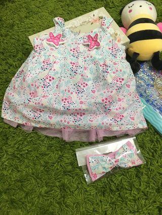 F&F baby dress set with headband