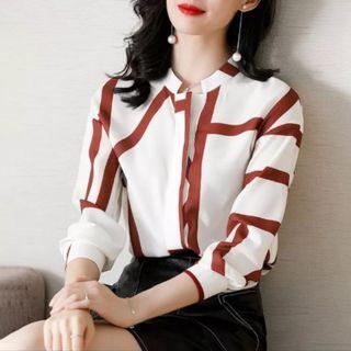 XWI 2019秋新品女款知性印花撞色線條設計感長袖襯衫