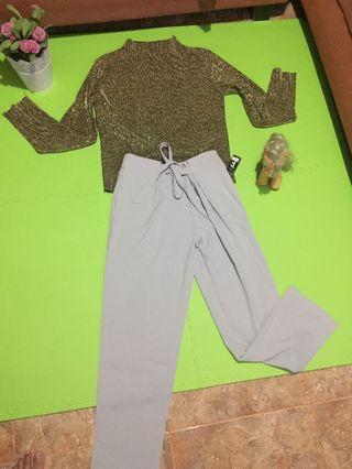 Atasan bershka dan celana biru muda (1 paket)