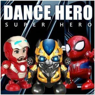 DANCE HERO MUSIC   Dance robot plus music keren tipe hero berat 350 gram plus dus robot batre yang di gunakan 3 buah tipe AAA