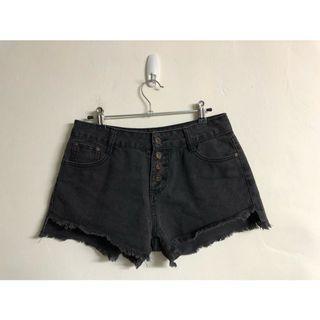 韓版排釦黑灰牛仔褲 刷毛海短褲
