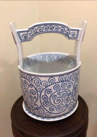 Vintage porcelain blue and white pottery water bucket