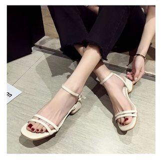 全新轉賣 方跟一字涼鞋 粗跟涼鞋 米白 韓系 歐美 繫帶涼鞋 Zara h&m forever21 #lalamove真方便