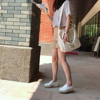 夏日新款韓國ins百搭休閒布袋大容量寬肩帶單肩斜挎2用帆布包