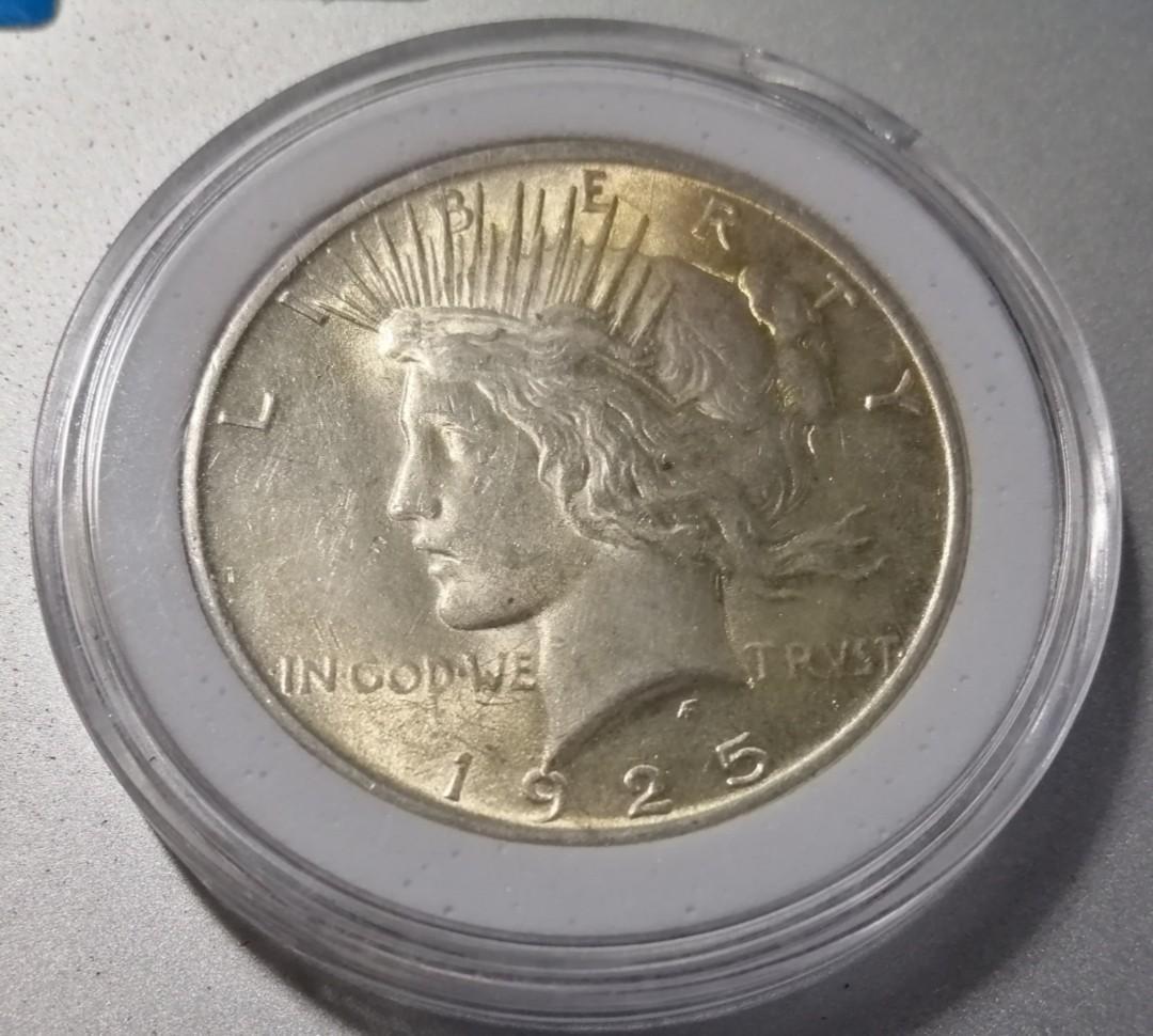 美國1925年和平鷹一圓銀幣 費城版 較少年分 UNC- 雙面車輪光 完整金色包漿 保真 附內墊小圓盒