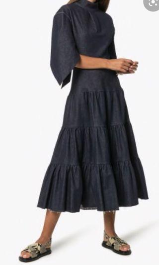 Long Midi Tiered Denim Skirt#padini#zara#h&m#monki#topshop#women