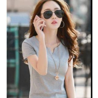 夏季全棉短袖t卹女款韓範百搭V領丅卹女夏上衣半袖打底體恤衫潮