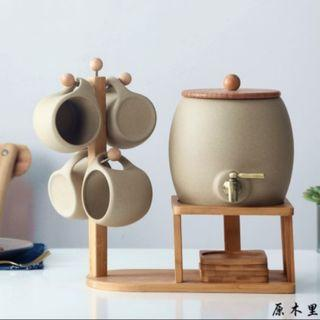 原木里冷水壺陶瓷套裝家用涼水杯2l大容量耐熱高溫防爆果汁泡茶壺