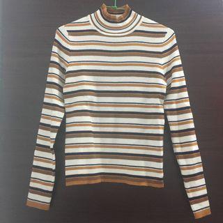 全新🔅PAZZO舒適自在高領條紋針織衫(咖/M)