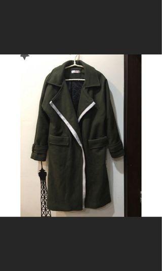 極新✨毛呢大衣 墨綠色
