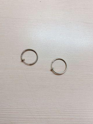 銀色2cm夾式耳環
