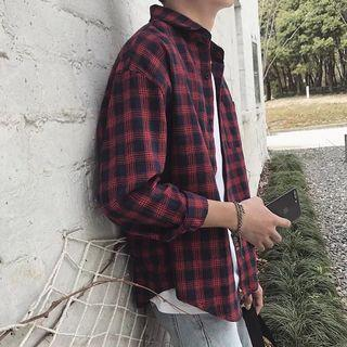 【 Gshop.】格子襯衫男長袖春秋季外套寬鬆休閒條紋襯衫