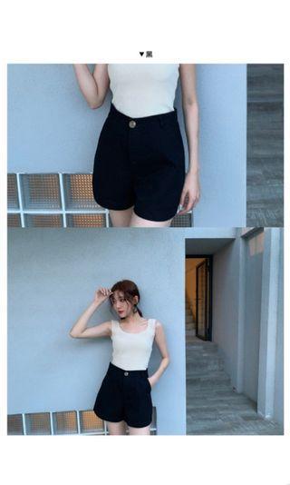 Lulus 挺版高腰休閒短褲 黑白兩色
