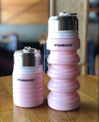 🆕 Starbucks Limited Edition Pink Collapsible Silicone Water Bottle