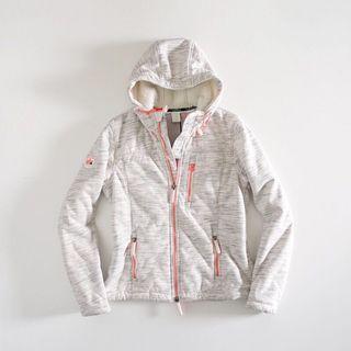 英國【SUPERDRY極度乾燥】白底條紋內鋪毛連帽外套