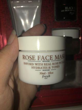 Fresh rose mask, lotus cream, black tea eye concentrate, lip sugar treatment