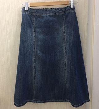 Vintage East India A-line Midi Denim Skirt#women#zara#h&m#topshop#monki