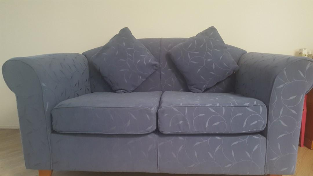 95% new 2 seater fabric sofa couch blue floral linen