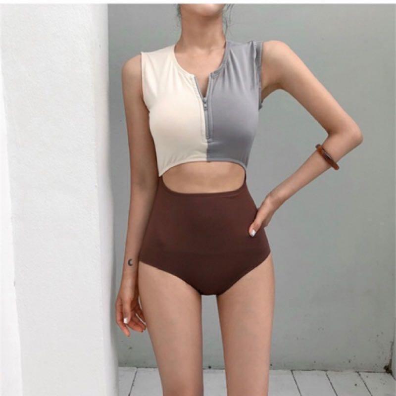 韓妞性感小胸顯身材必備!顯瘦遮小腹修身連身泳衣度假比基尼高腰泳裝日本