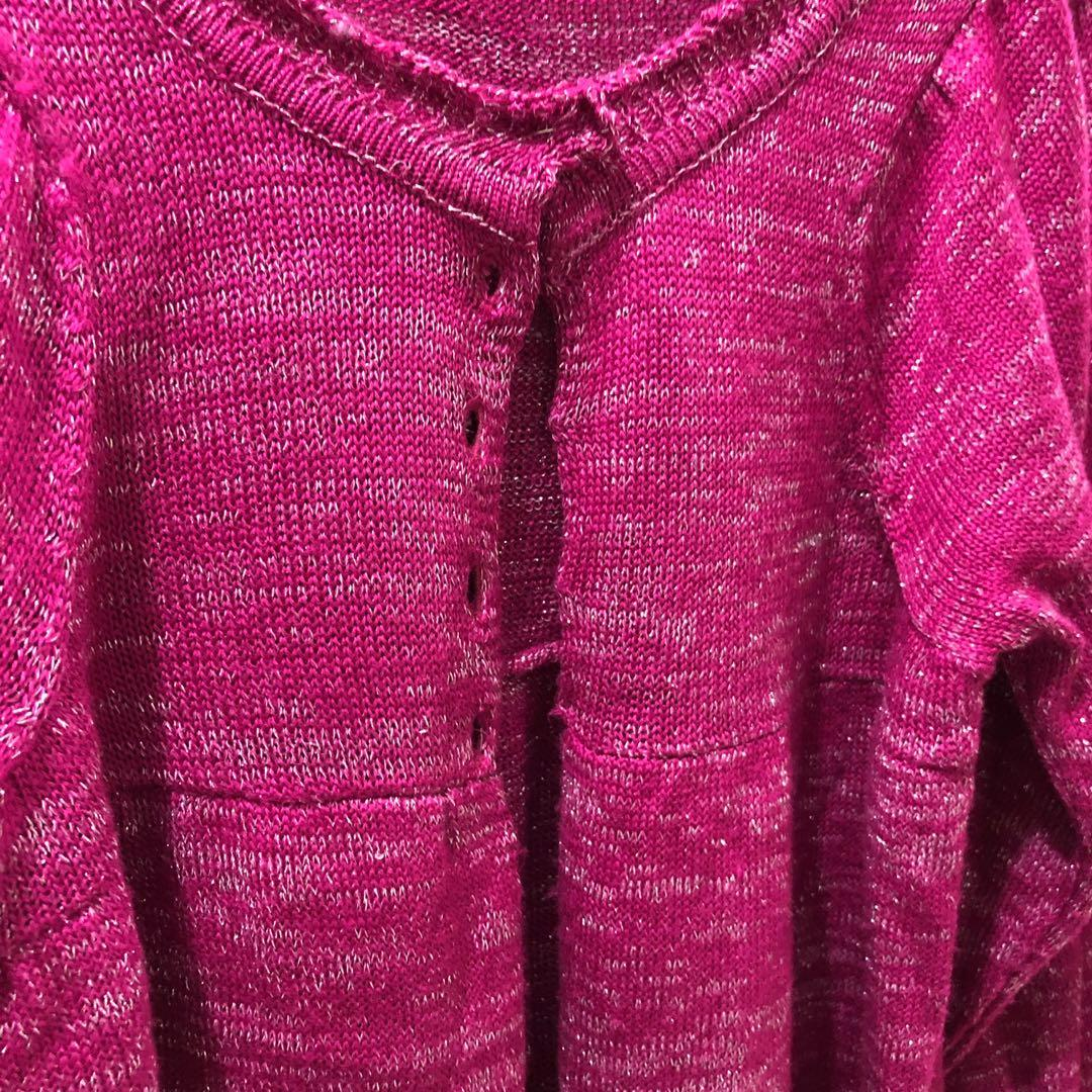 桃紅色銀線中袖短外套