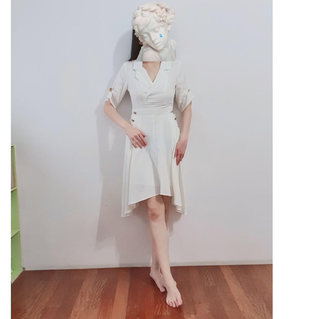 雪紡金釦氣質翻領不規則下擺收腰口袋襯衫洋裝