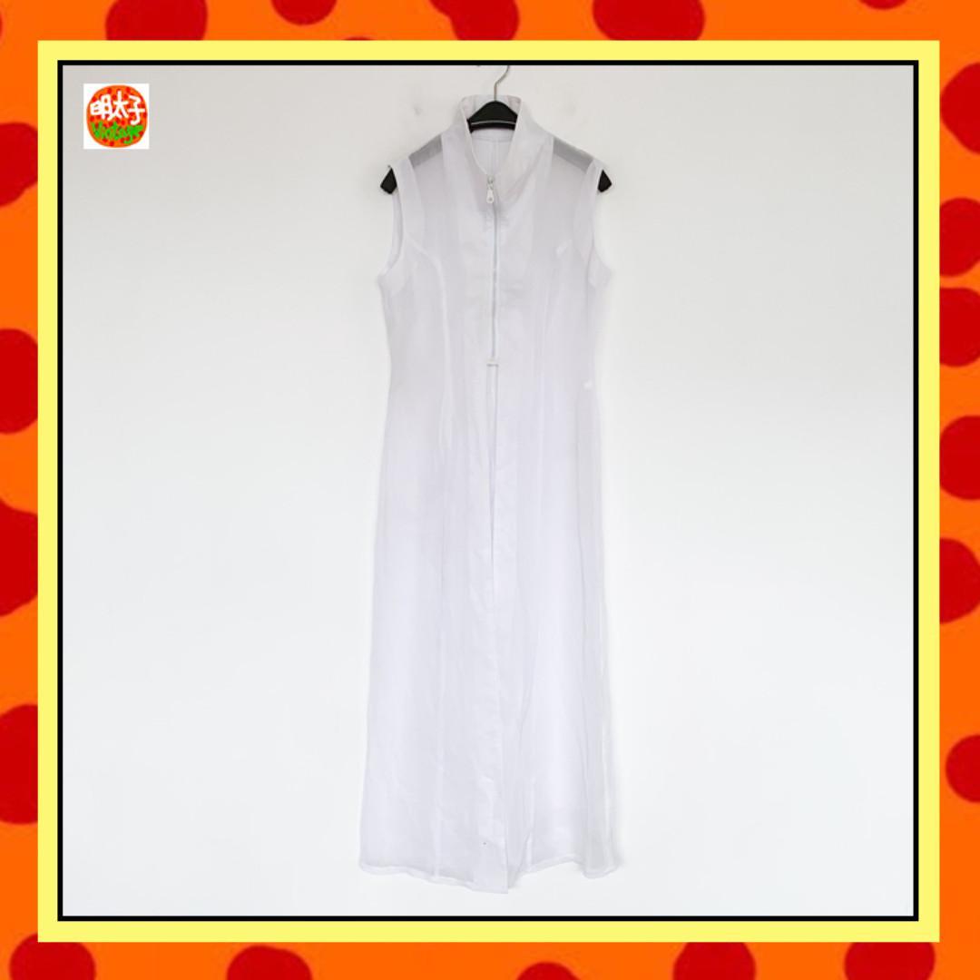 二手 白色 透明 拉鍊 罩衫 洋裝 明太子 B1013