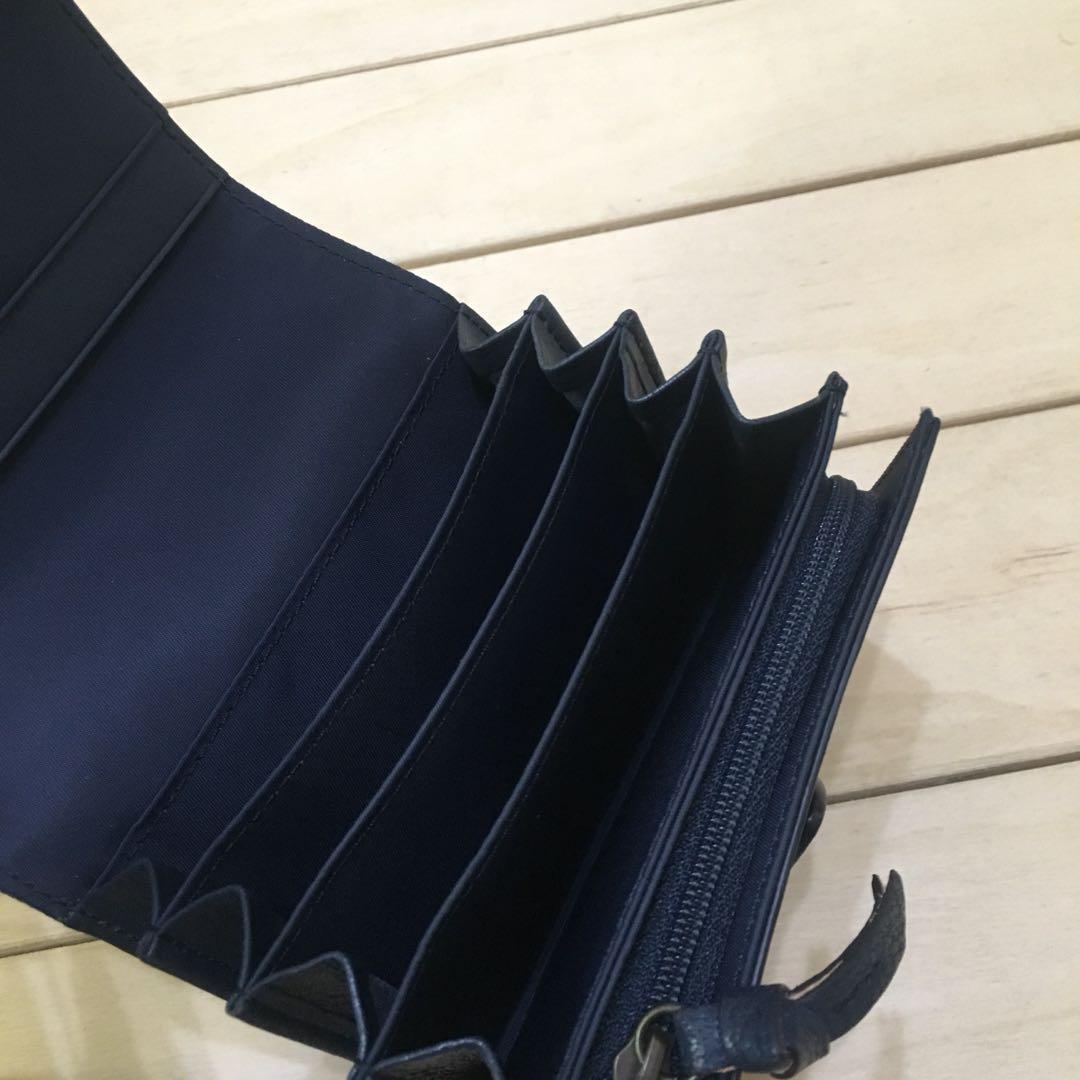 無印良品 MUJI 牛皮 多隔層二折皮夾 短夾 中性款 深藍