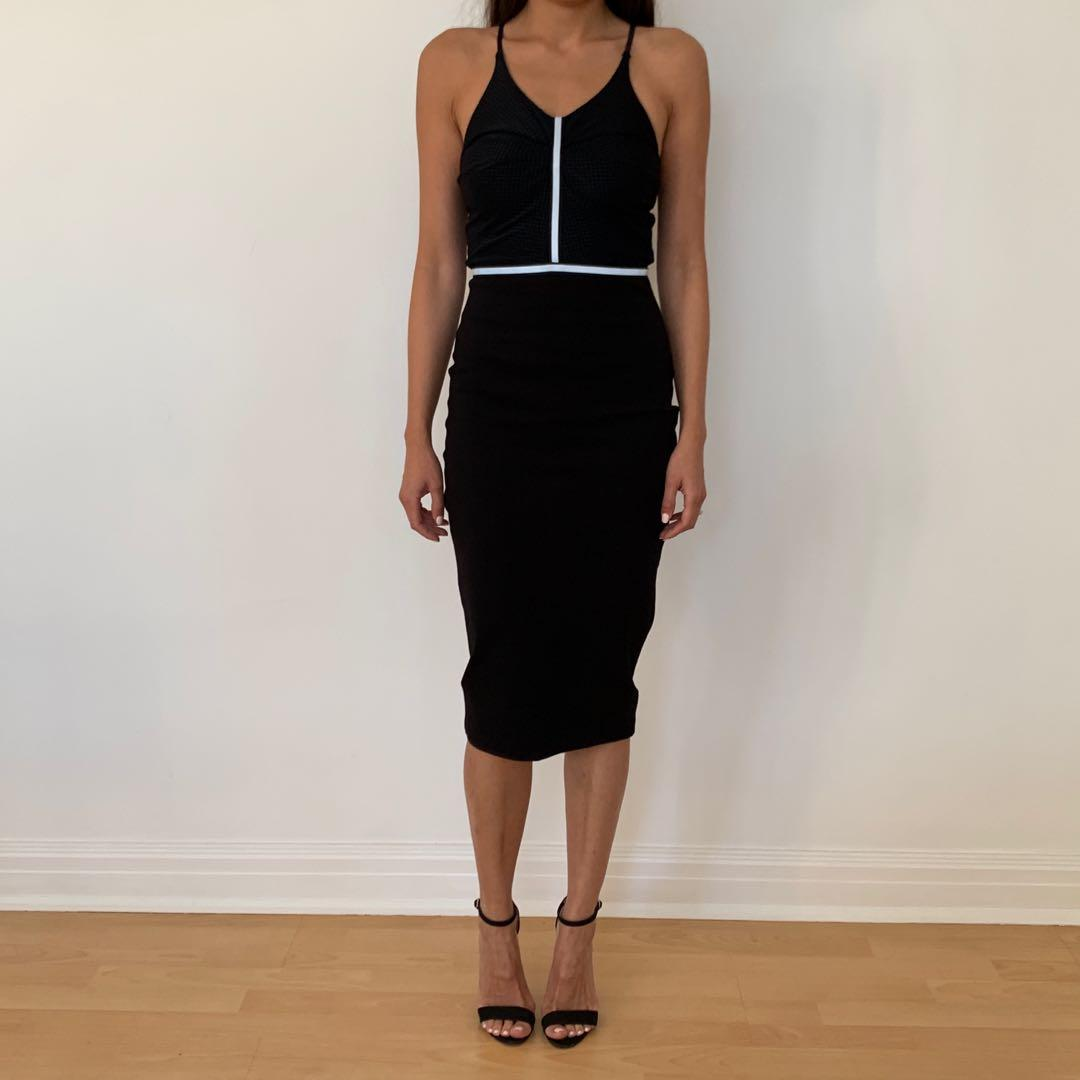 Bec & Bridge Midnight Rambler Backless Midi Dress Black Size 6