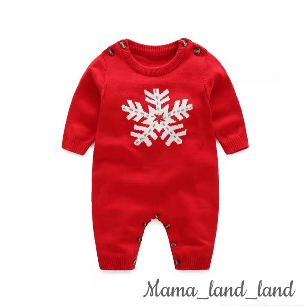 <Best Gift 🎁 > Merry Christmas 🎄/ Classic snow ❄️ ❄️ Embroidered pattern newborn / baby cotton Bodysuit