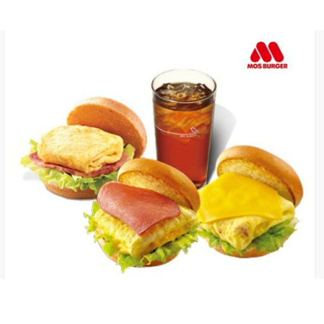 摩斯漢堡-C119 火腿歐姆蛋堡 / 蕃茄吉士蛋堡 / 培根雞蛋堡 三選一 + 冰紅茶(L)兌換券
