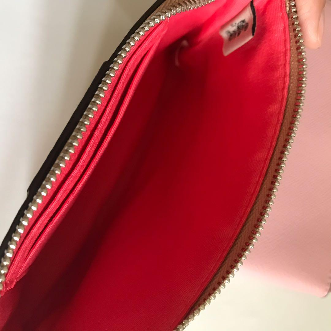 Coach corner zip signature with stripe wallet dompet