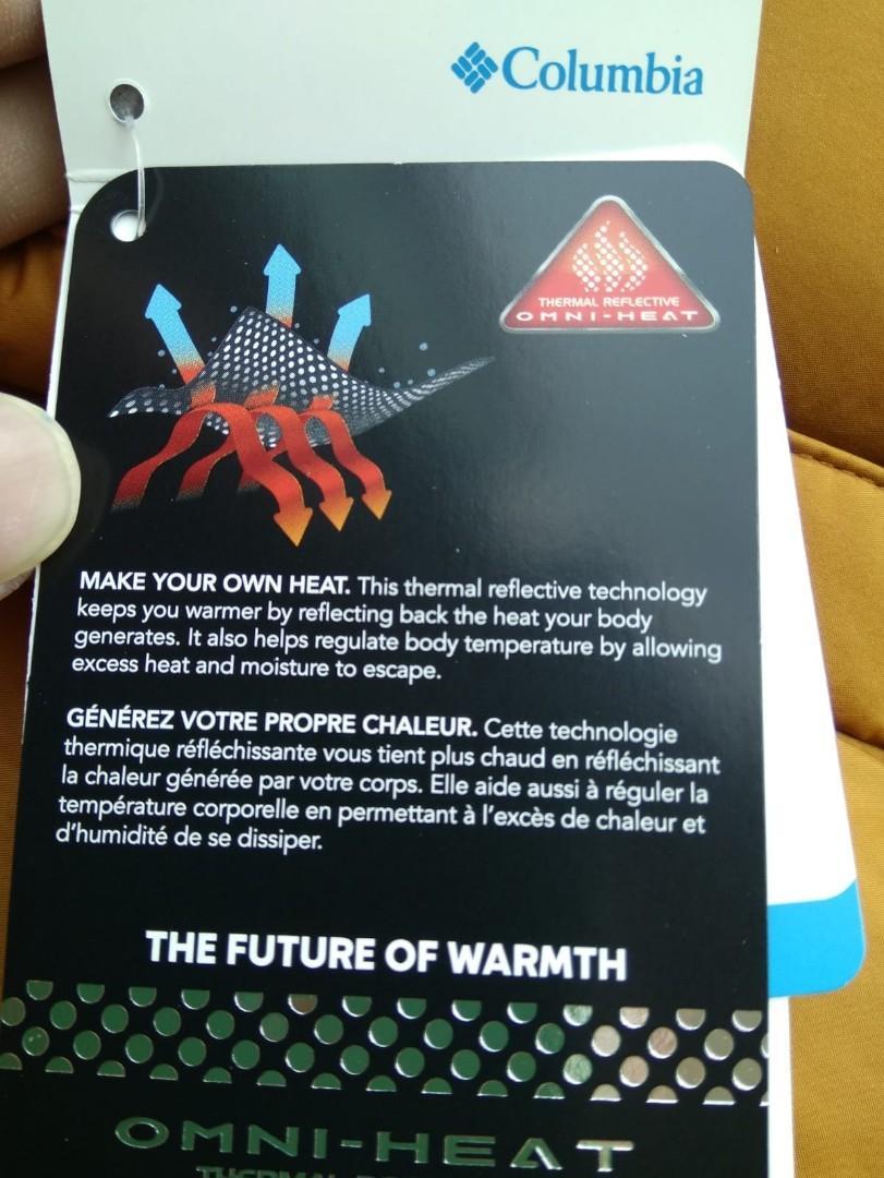 全新中碼columbia omni heat熱能反射雪地保暖羽絨背心