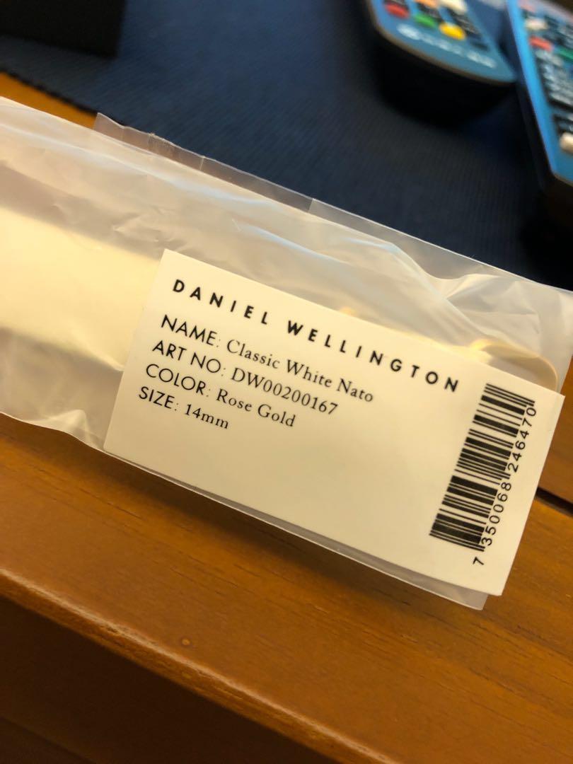 DW Daniel Wellington 白色織布錶帶 14mm 玫瑰金
