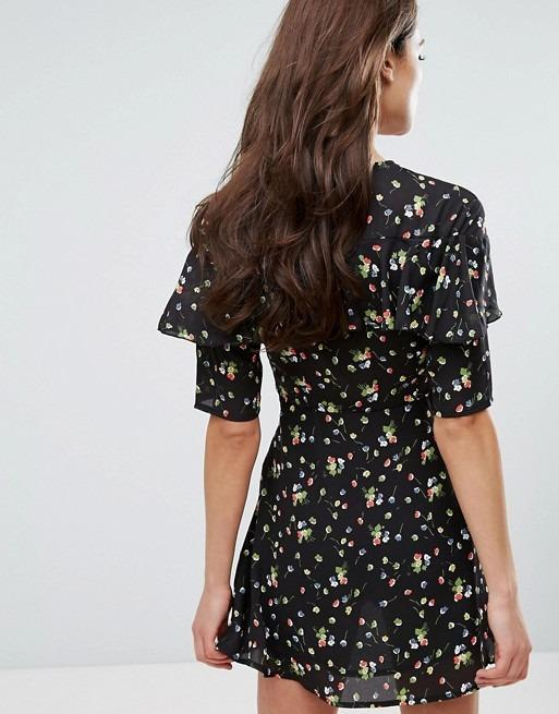Fashion Union - Plunge Front Dress In Ditsy Floral - UK6 #swapau