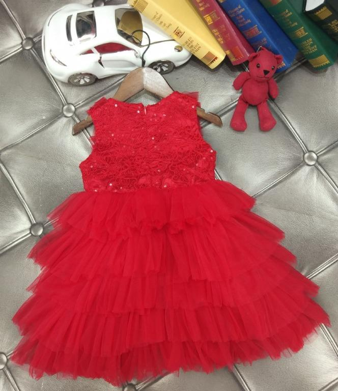 Girls Princess Tutu Party Dress RED Size: 1.5-2 years old (To fit 90cm)