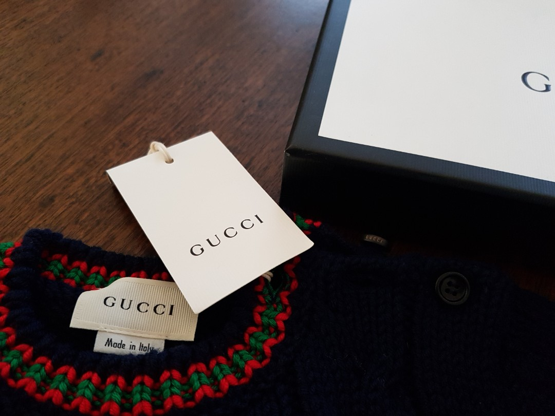 Gucci cable knit wool sweater blue navy size 3 bnwt