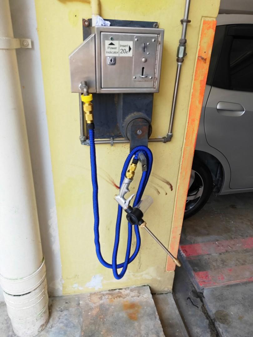 HDB Carpark Car Wash/Bike Wash Magic Hose + Combo Foam Bottle Spray Gun Set