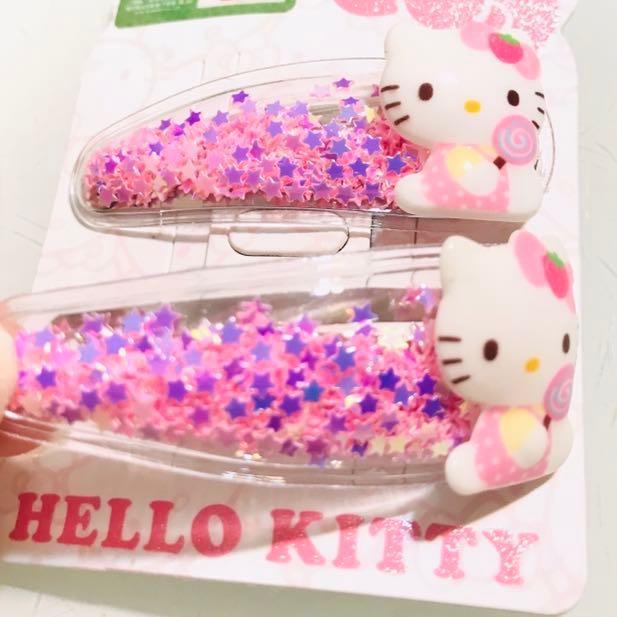 Hello Kitty Star Candy Hair Clips 閃星星碎片糖果公仔 兒童女孩髮夾兩個