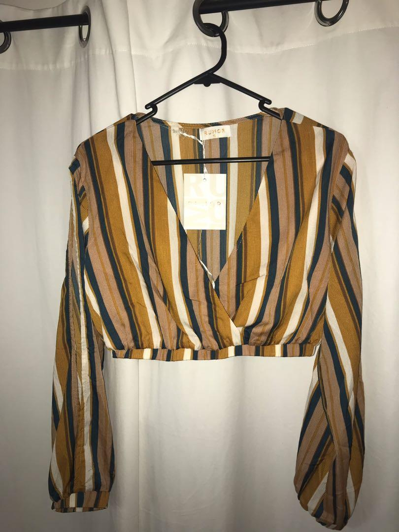Long sleeve stripped crop