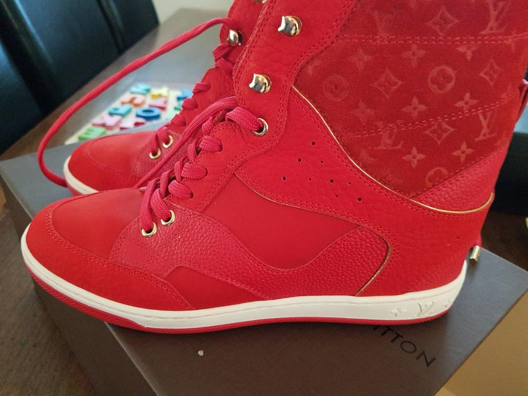 Louis vuitton red wedge sneakers leather and suede. As new