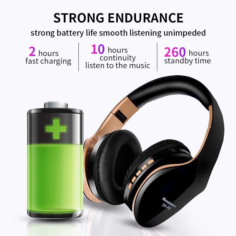 New Wireless Headphones Foldable Stereo With Microphone