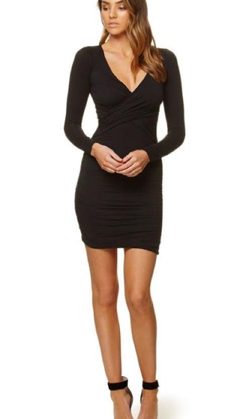 RRP $120 Kookai View Dress Long Sleeve Mini Black Size 1