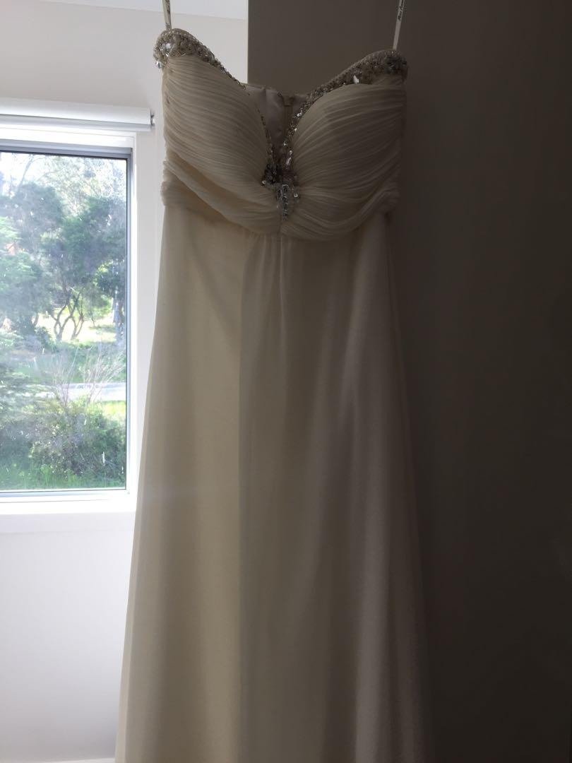 Size 6-8 formal dress, creamy beige colour with gems