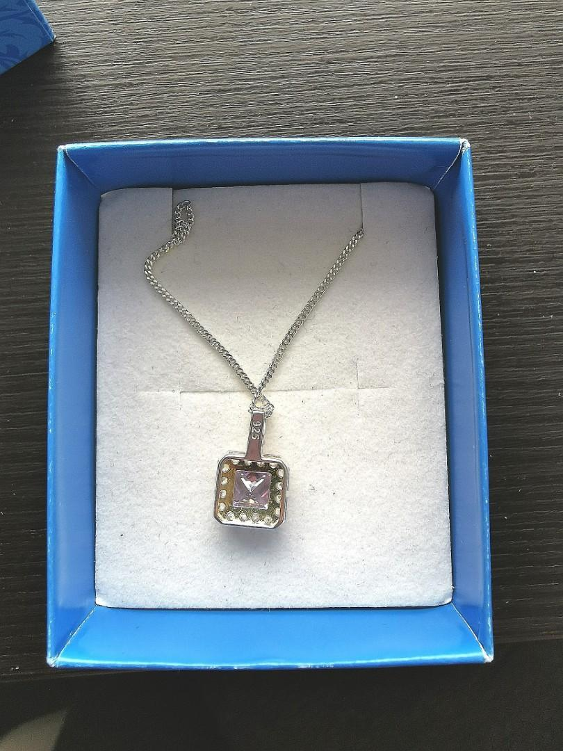 Sterling silver and lavender cubic zirconia necklace