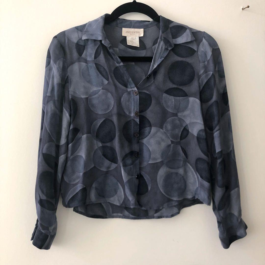 Vintage 100% Silk Button Up