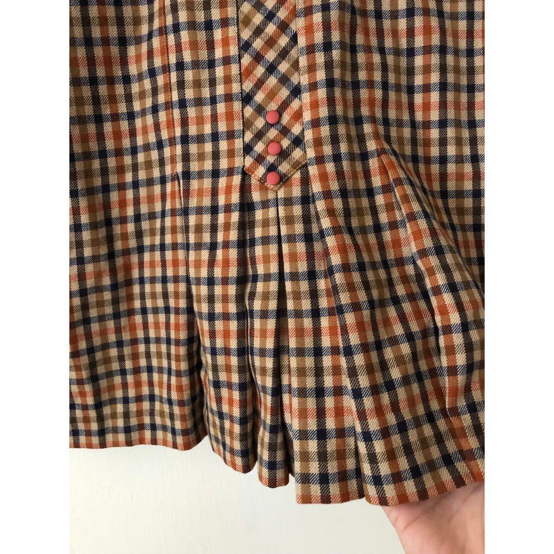 日製🇯🇵Vintage 古著復古毛料高腰格子裙 小百摺條紋裙 JP及膝裙 口袋中長裙 日本學院風甜美長裙