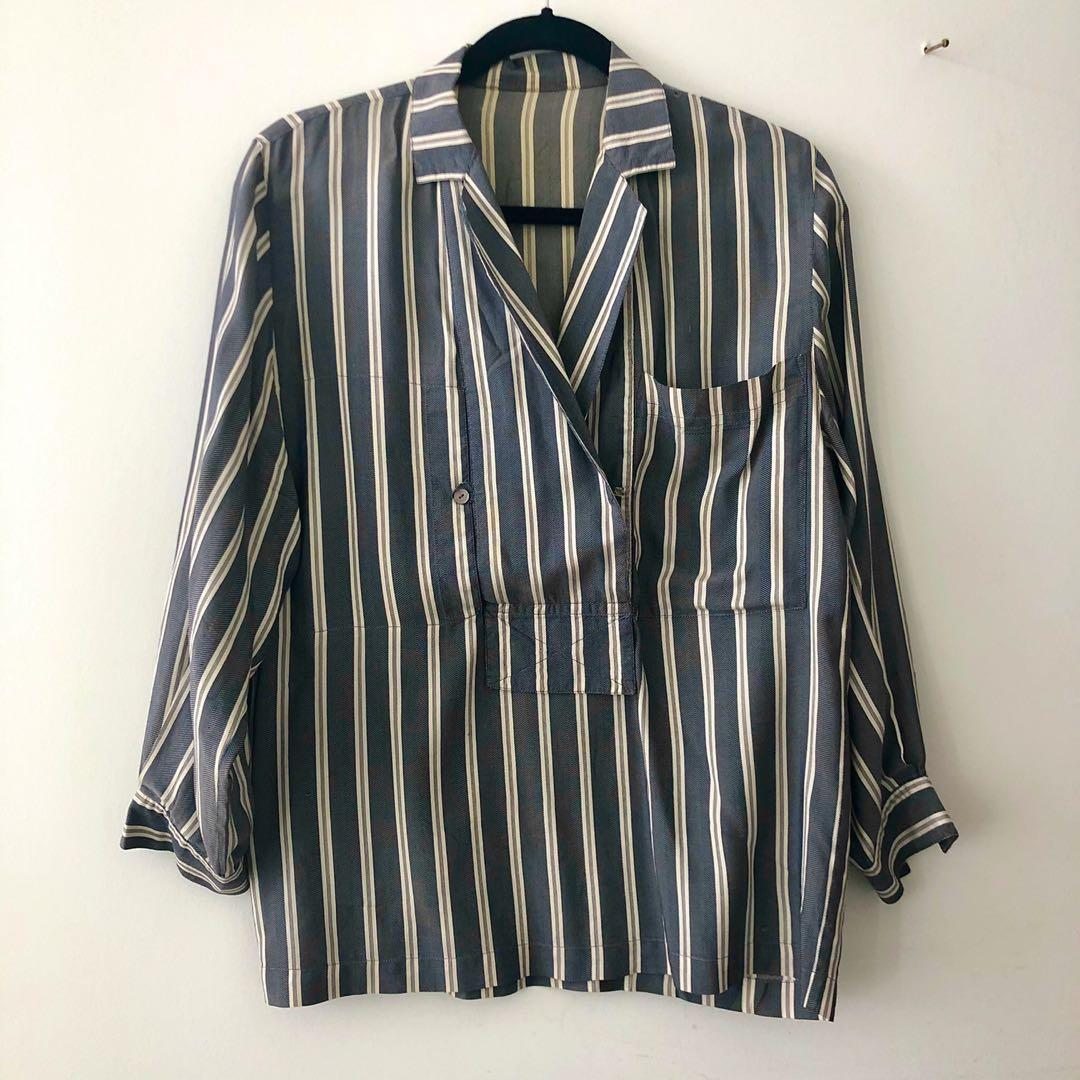Vintage Silk Striped Blouse